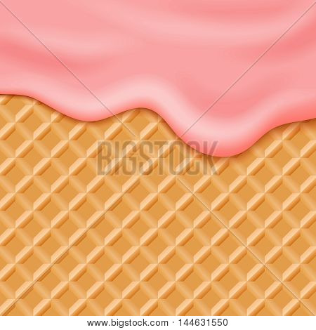 Flowing pink glaze on wafer background. Sweet waffle with flowing cream. Vector illustration