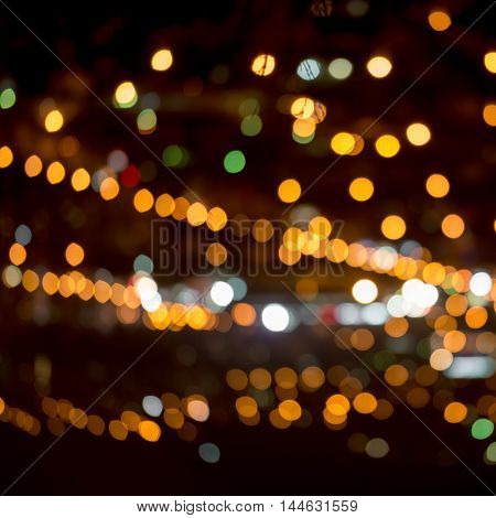 Abstract Circular Natural Bokeh Background, City Lights With Horizon, Close Up