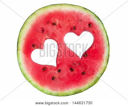 Round watermelon slice with cut in the shape of heart isolated on white background