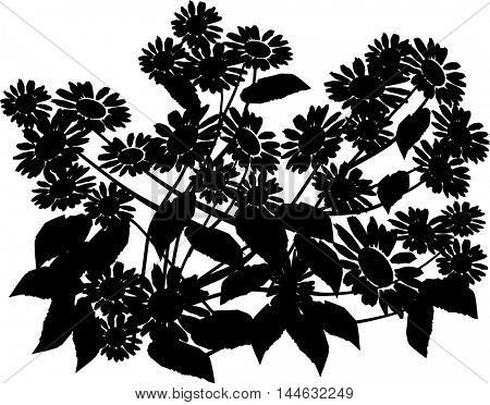 illustration with bunch of flowers silhouette isolated on white background