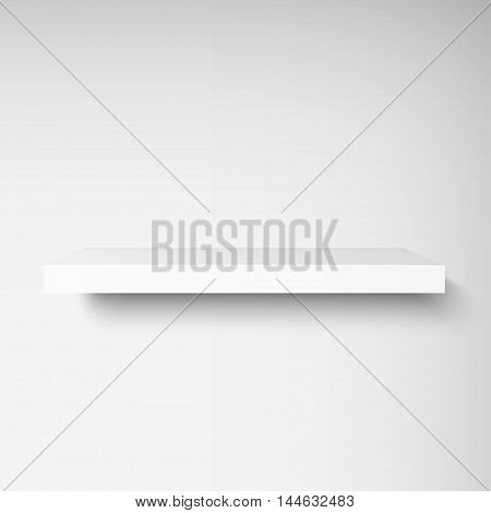 Detailed illustration of white shelf with light from the front. Illustration of shelve for your presentation. Mockup for your design, shop, exposition. Vector EPS10.