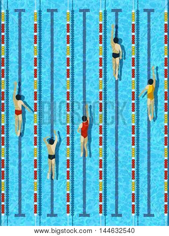 Top view swimming pool, aquatic race water basin with several athlete swimmers vector illustration