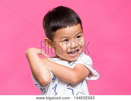 Little asian boy feeling shy