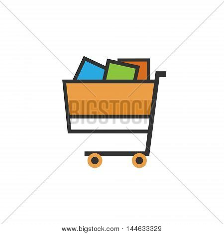 Cart, Basket of Goods Isolated on White Background, Trolley for Purchases, Vector Illustration
