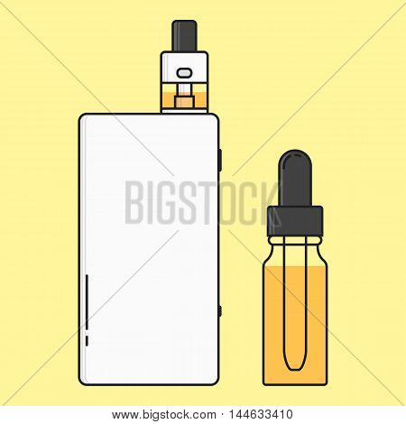 illustration of devices for vape. Outline isolated.