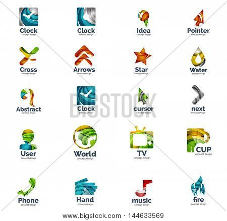 Vector set of web geometric internet logo icons