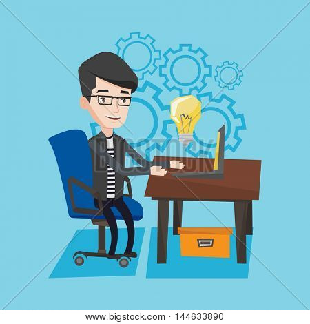 Young businessman working on his laptop in office and a big idea bulb above the computer. Man having a business idea. Successful business idea concept. Vector flat design illustration. Square layout.