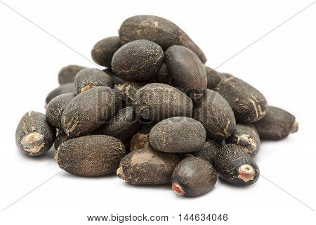 Organic Barbados nut  (Jatropha curcas) seeds. Isolated on white background. Front view.