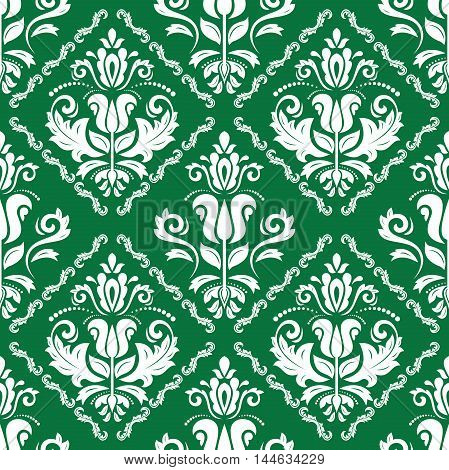 Damask vector classic green and white pattern. Seamless abstract background with repeating elements