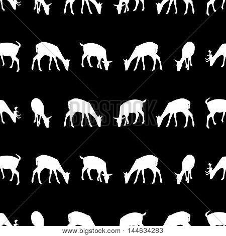 Feeding Fallow Deer Silhouette Of Animal Dark Seamless Pattern Eps10