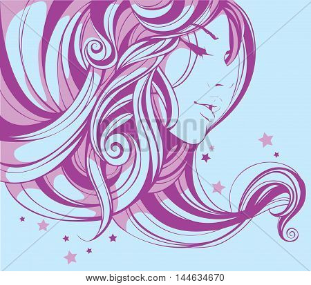 the girl's face is framed by the beautiful pink curls on the background of stars