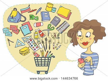 Illustration of woman shopping online for school supplies. Online shopping with mobile phone.