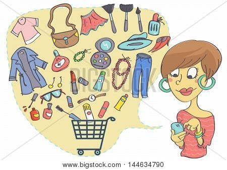 Illustration of online shopping clothes, fashion accessories and cosmetics. Woman shopping with mobile phone.