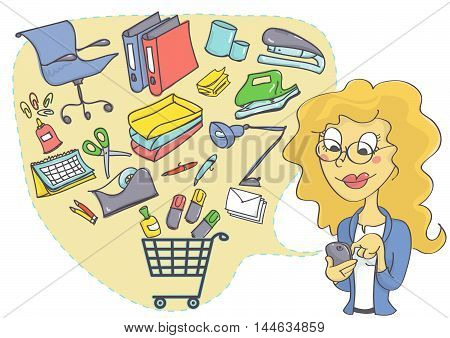 Business woman shopping online for office supplies. Online shopping with mobile phone in business.