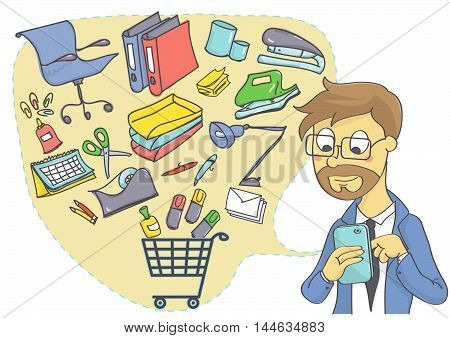Business man shopping online for office supplies. Online shopping with mobile phone for business.