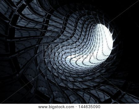 Abstract Shining Blue Twisted Digital Tunnel