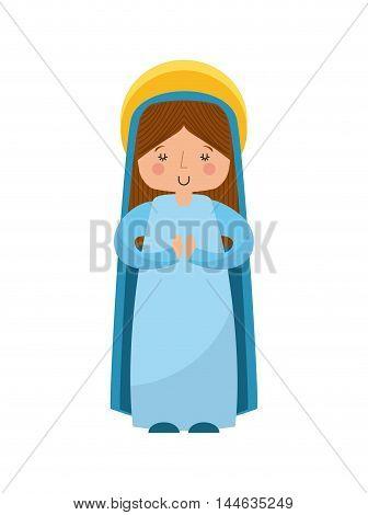 mary virgin manger character vector illustration design
