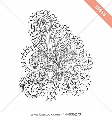 Hand drawn floral background doodle style. Design for cover bag knapsack notebook datebook . Coloring book page.