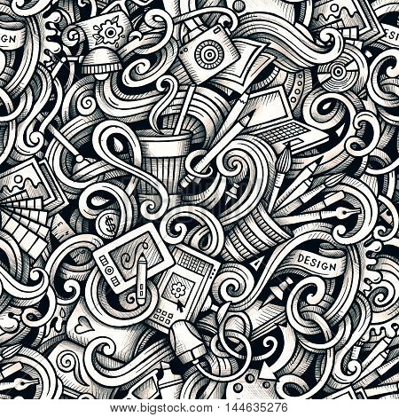Cartoon hand-drawn doodles Design and Art seamless pattern. Line art detailed, with lots of objects raster background