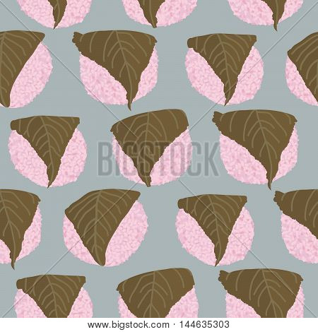 Sakura Mochi background. Seamless pattern. Rice balls wrapped in a salty pickled cherry leafs. Asian cuisine.Dessert illustration. Traditional japanese sweets. Hinamatsuri (Girl's Day) dish.