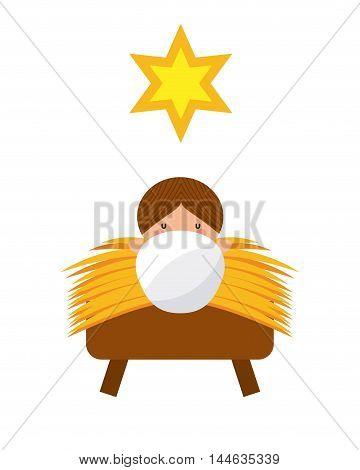 jesus christ baby manger character vector illustration design
