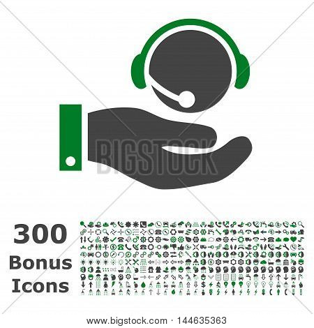 Call Center Service icon with 300 bonus icons. Glyph illustration style is flat iconic bicolor symbols, green and gray colors, white background.
