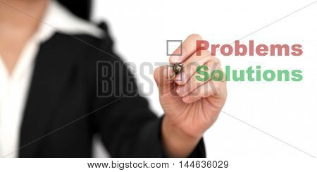business Problem solutions (selective focus at pen)