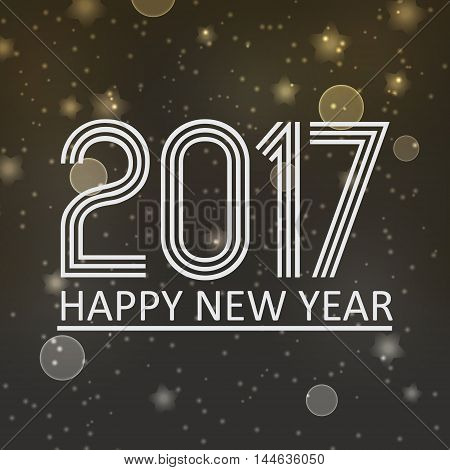 Happy New Year 2017 On Dark Night Bokeh Background With Stars And Snow Eps10
