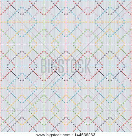 Japanese sashiko motif with rhombs. Traditional Japanese Embroidery Ornament. Seamless pattern. Abstract geometric backdrop. For decoration or printing on fabric.