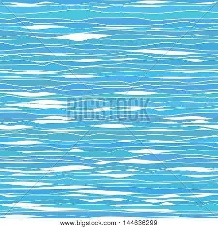 Wavy lines and ribbons. Seamless pattern. Sea texture. Abstract background. Horizontal colorful backdrop. Endless texture. For decoration or web page bg.