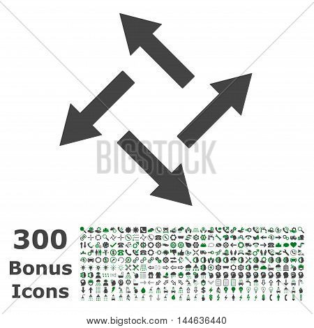 Centrifugal Arrows icon with 300 bonus icons. Glyph illustration style is flat iconic bicolor symbols, green and gray colors, white background.