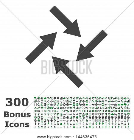 Centripetal Arrows icon with 300 bonus icons. Glyph illustration style is flat iconic bicolor symbols, green and gray colors, white background.