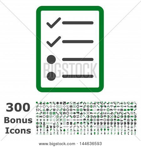Checklist Page icon with 300 bonus icons. Glyph illustration style is flat iconic bicolor symbols, green and gray colors, white background.