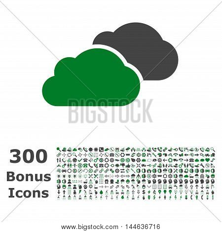 Clouds icon with 300 bonus icons. Glyph illustration style is flat iconic bicolor symbols, green and gray colors, white background.