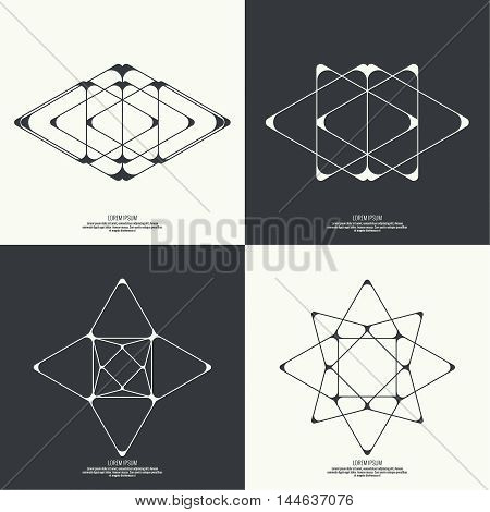 Set Abstract background with intersecting geometric shapes. Triangle, star geometry. Badge, monogram, banner. Black and White