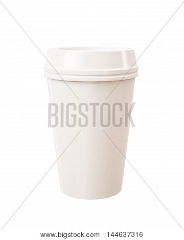 Blank white takeaway cup isolated on white background
