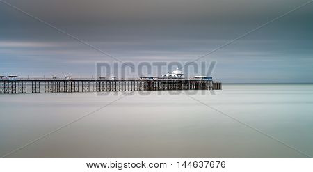 Llandudno pier North Wales Calm sea around the Victorian Llandudno pier in North Wales