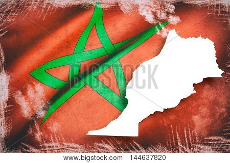 Silhouette Of Morocco Map With Flag