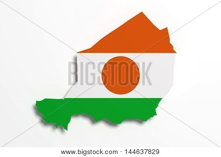 Silhouette Of Republic Of Niger Map With Flag