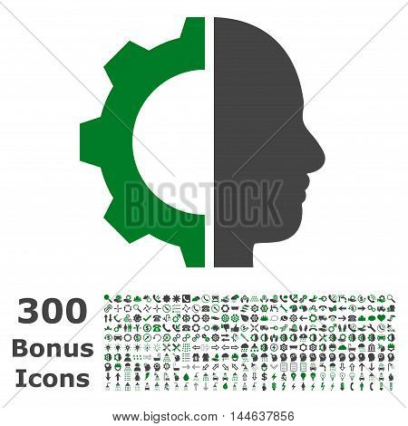Cyborg Gear icon with 300 bonus icons. Glyph illustration style is flat iconic bicolor symbols, green and gray colors, white background.