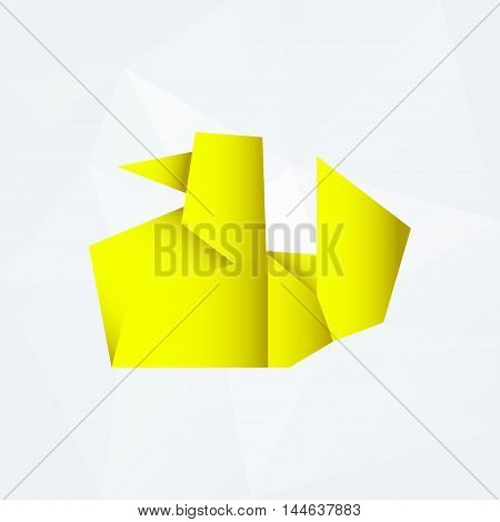 Yellow Simple Paper Origami Duck Od White Paper Background Eps10