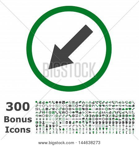 Down-Left Rounded Arrow icon with 300 bonus icons. Glyph illustration style is flat iconic bicolor symbols, green and gray colors, white background.