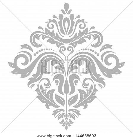 Elegant vector silver square ornament in the style of barogue. Abstract traditional pattern with oriental elements