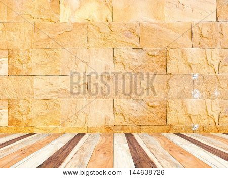 Empty Perspective Room With Sand Stone Wall And Wooden Plank Floor,template Mock Up For Display Of Y