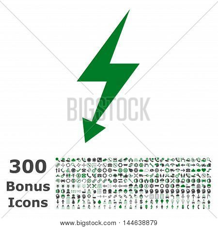 Electric Strike icon with 300 bonus icons. Glyph illustration style is flat iconic bicolor symbols, green and gray colors, white background.