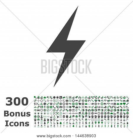Electricity icon with 300 bonus icons. Glyph illustration style is flat iconic bicolor symbols, green and gray colors, white background.