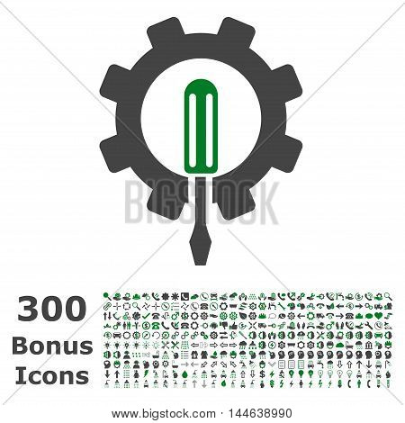 Engineering icon with 300 bonus icons. Glyph illustration style is flat iconic bicolor symbols, green and gray colors, white background.
