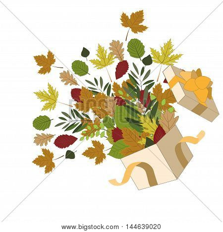 gift box with autumn leaves and ribbon. Retro vector design elements.