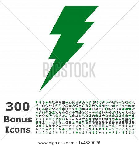 Execute icon with 300 bonus icons. Glyph illustration style is flat iconic bicolor symbols, green and gray colors, white background.