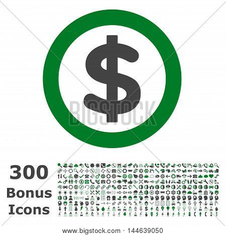 Finance icon with 300 bonus icons. Glyph illustration style is flat iconic bicolor symbols, green and gray colors, white background.